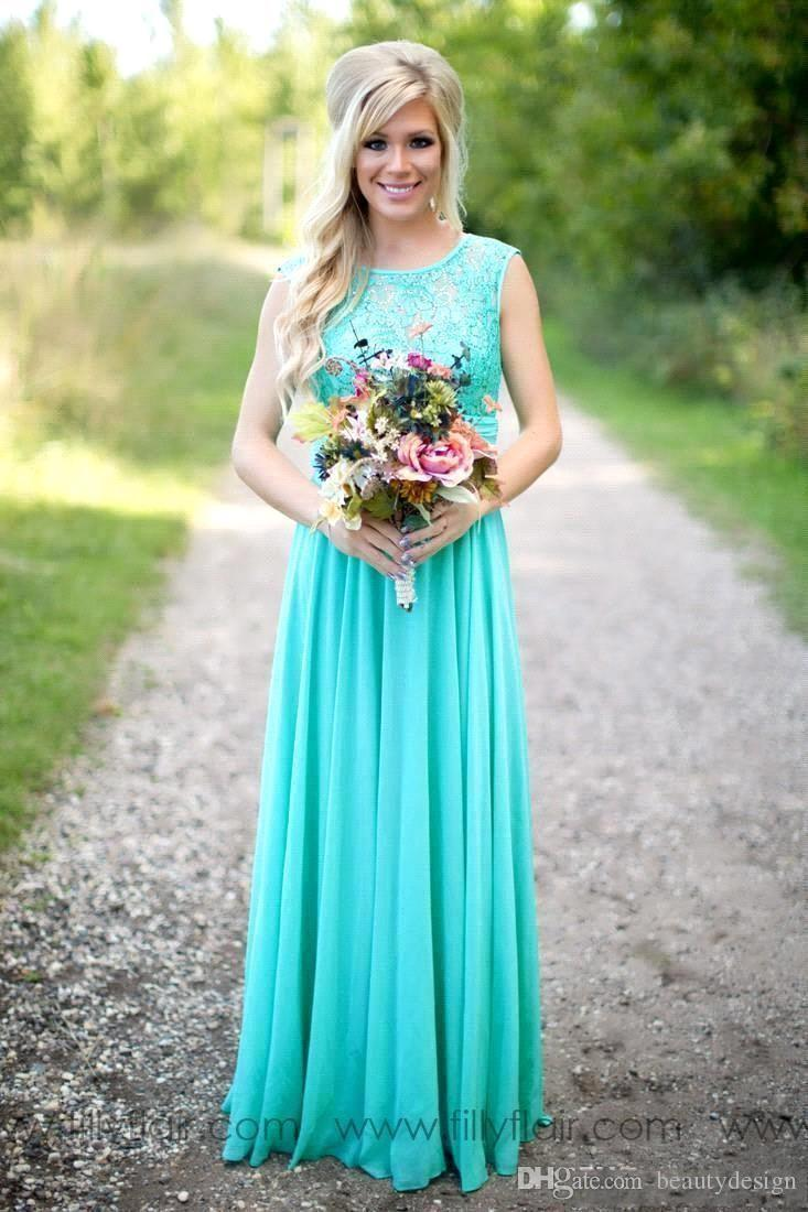 2019 Cheap Turquoise Bridesmaids Dresses Sheer Jewel Neck Lace Top Chiffon Long Country Bridesmaid Maid of Honor Wedding Guest Dresses
