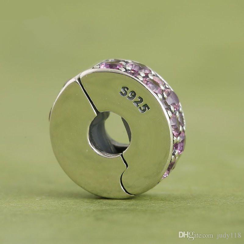 Memnon Jewery 2016 Sommer Silber Glänzende Eleganz Clip Perlen mit Rot Cz 925-Sterling-Silber Lock Clip Charme Fit Silber Armband DIY KT061