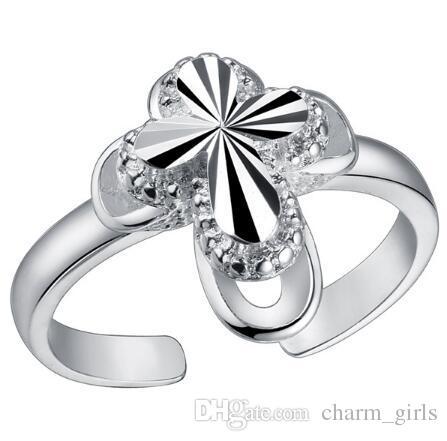 2018 nouvelle mode plaqué bague en argent Sterling 925 peut être ajusté anneau d'ouverture coeur d'amour FLOWER arc anneaux mélange 12 style