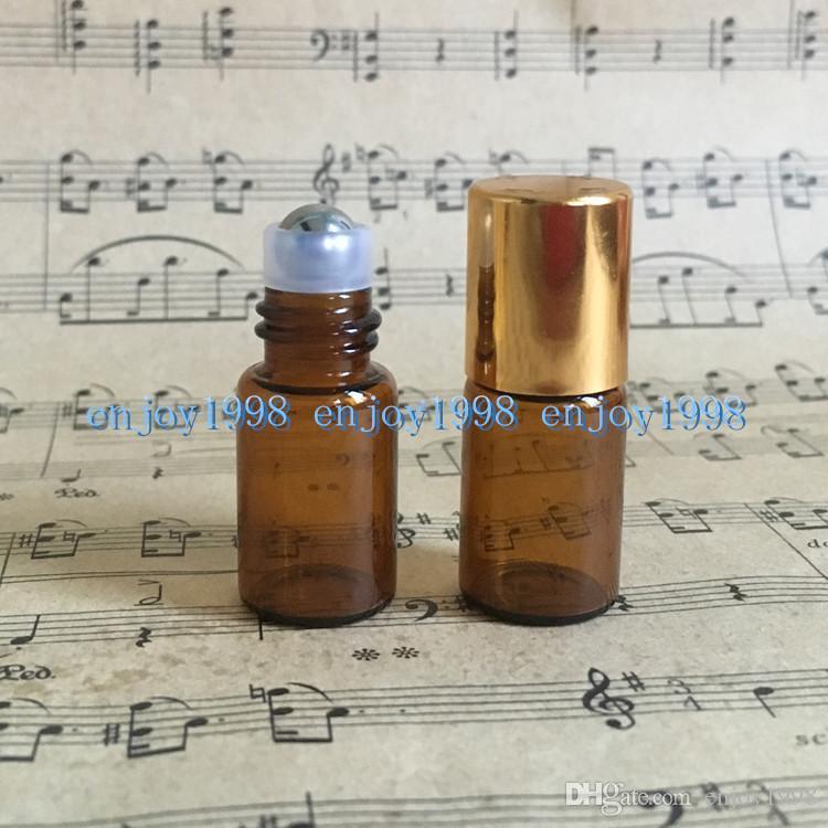 Uçucu Yağlar / Altın Kapaklı 3CC Cam Rulo Açık Şişeleri için 3ml Amber Merdane Şişeler
