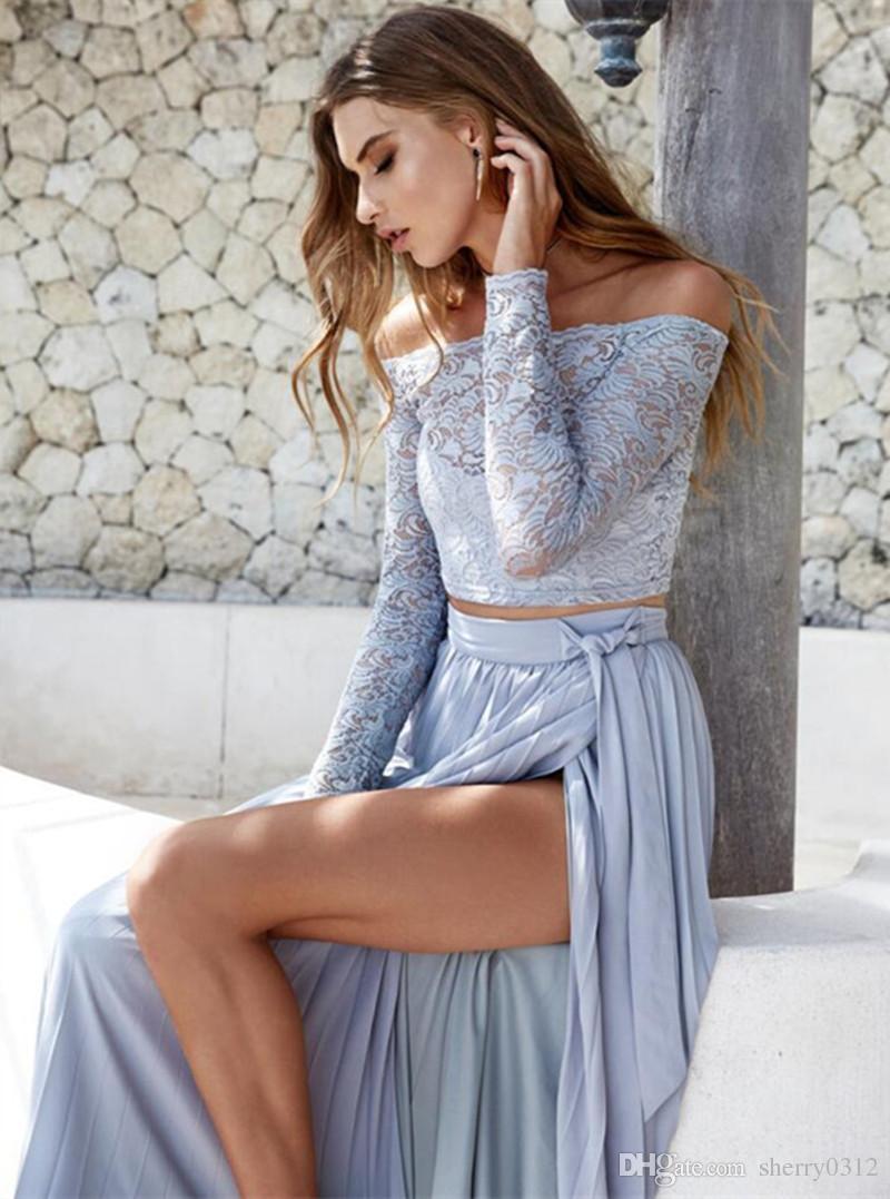 2017 Spring Womens Elegant Dresses Off Shoulder Long Maxi Set ...
