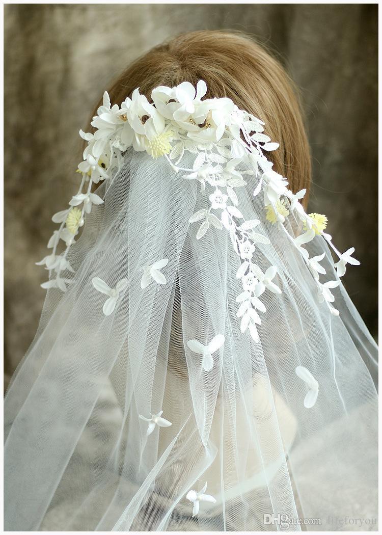 White Wedding Veils Wedding Veil Bridal Veils With Flowers And Clip