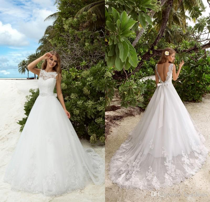 2017 Modest Simple Wedding Dresses Bateau Neck Lace Appliqued Beaded Sash Tulle Floor Length Backless Summer Beach Bridal Gowns