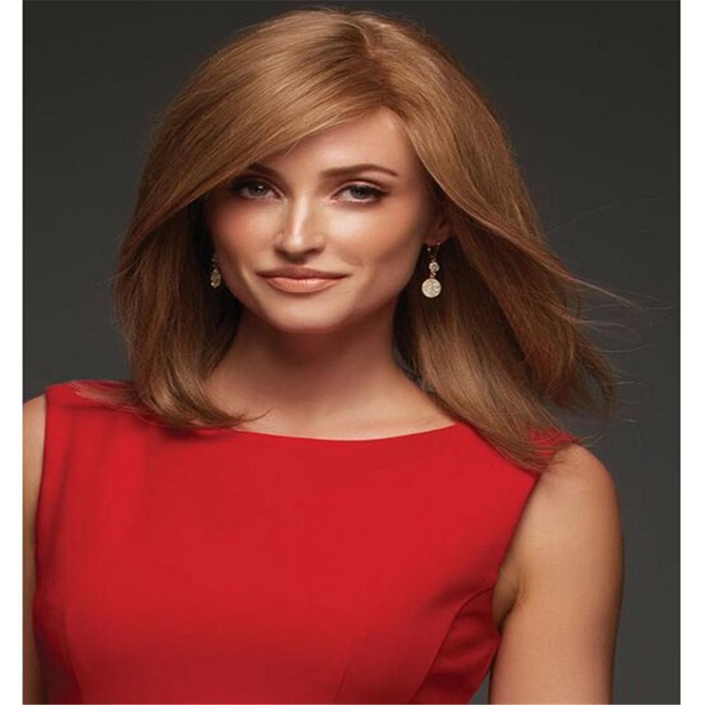 Полный парик шнурка Полный парик шнурка человеческих волос старший шелк длинные волнистые igs бразильские волосы девственницы 100% с челкой для женщин цвет 30 # парики kabell