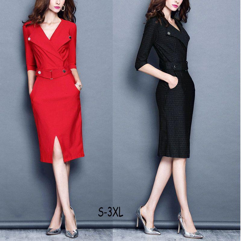 Best Plus Size Elegant Half Sleeve Business Dress Fashion y