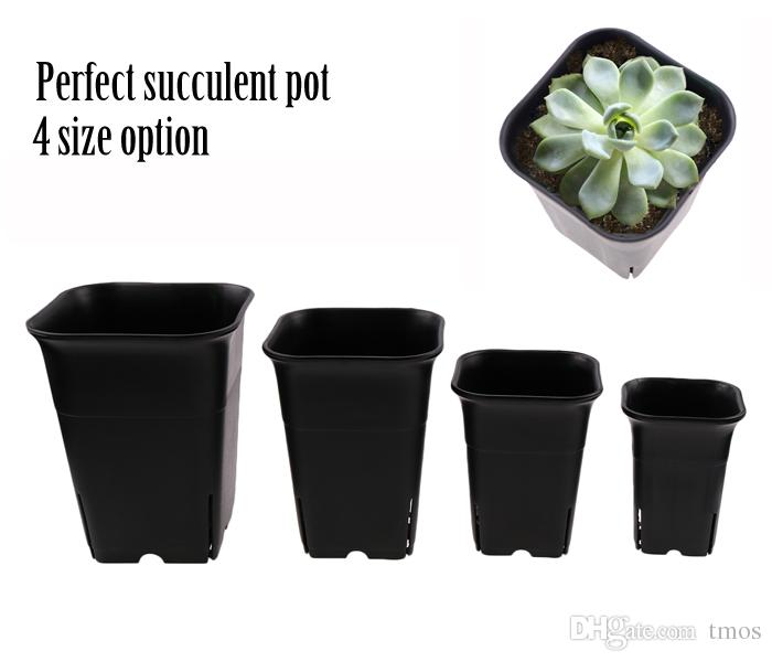4 size option square nursery plastic flower pot for indoor home desk, bedside or floor, and outdoor yard,lawn or garden planting