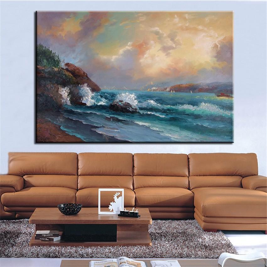 Acheter AUCUN CADRE Peint Vintage Bleu Paysage De La Mer Peinture À Lu0027huile  Toile Peintures Mur Art Photos Pour Salon Décorations De $60.11 Du Cyon2017  ...