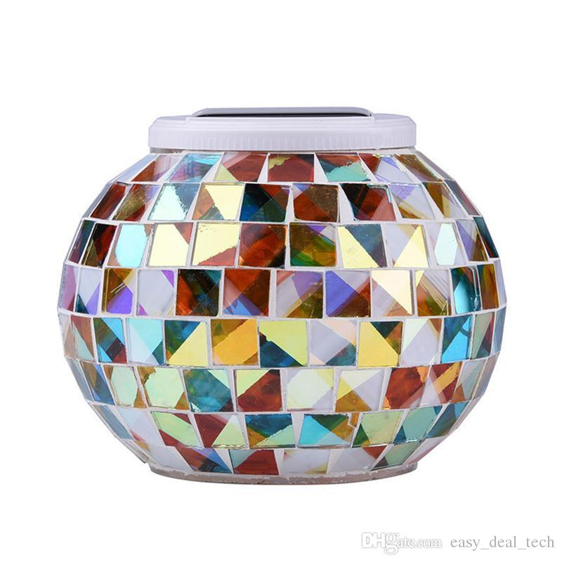 Mosaic Glass Ball Garden Lights Color Changing LED Solar Light Waterproof Solar Powered Table Lamps For Parties Decorations ZJ0268