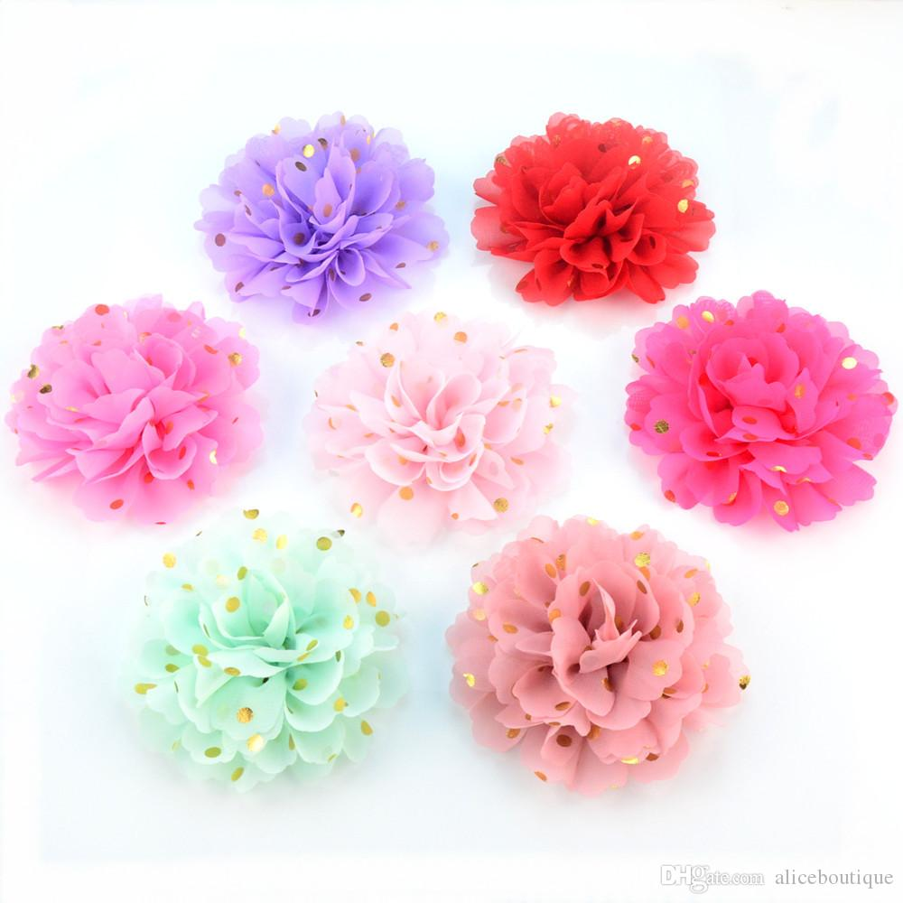 Baby infant flower print gold dots for hair bands Ballet Dance shoes flowers big chiffon rose for girls H0251