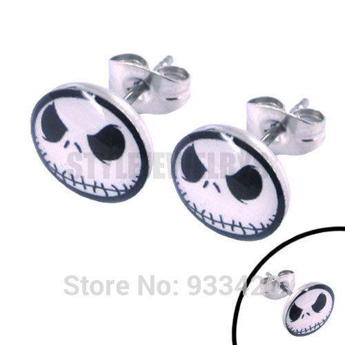 ! Enamel Jason Ghost skull Earrings Stainless Steel Jewelry Fashion Lovely Motor Earring Studs SJE370041