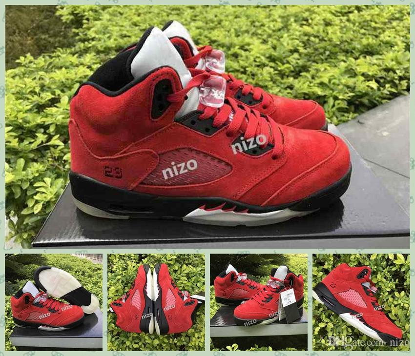 brand new 1deee d30af 2017 Air Retro 5 V Raging Bull Red Suede Metal Basketball Shoes Retro 5s  Varsity Red Black Womens Mens Sneakers Shoes 5.5 14 Kids Basketball Shoes  Sneakers ...
