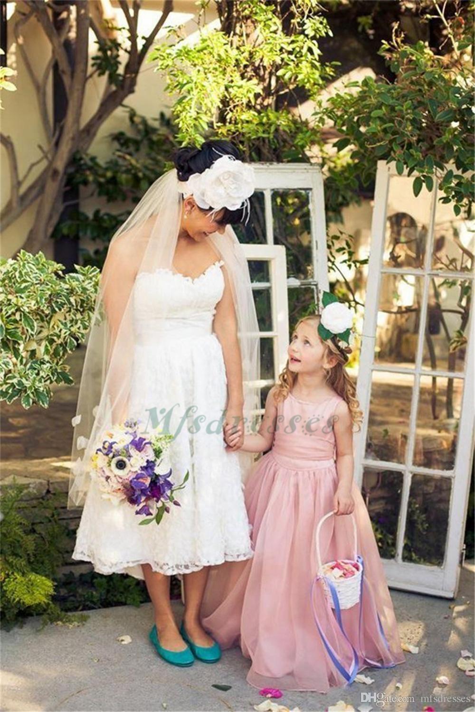 Lovely A Line Blush Pink Flower Girls Dress For Weddings 2017 Organza abiti da prima comunione bambini Ragazze abiti da festa di nozze