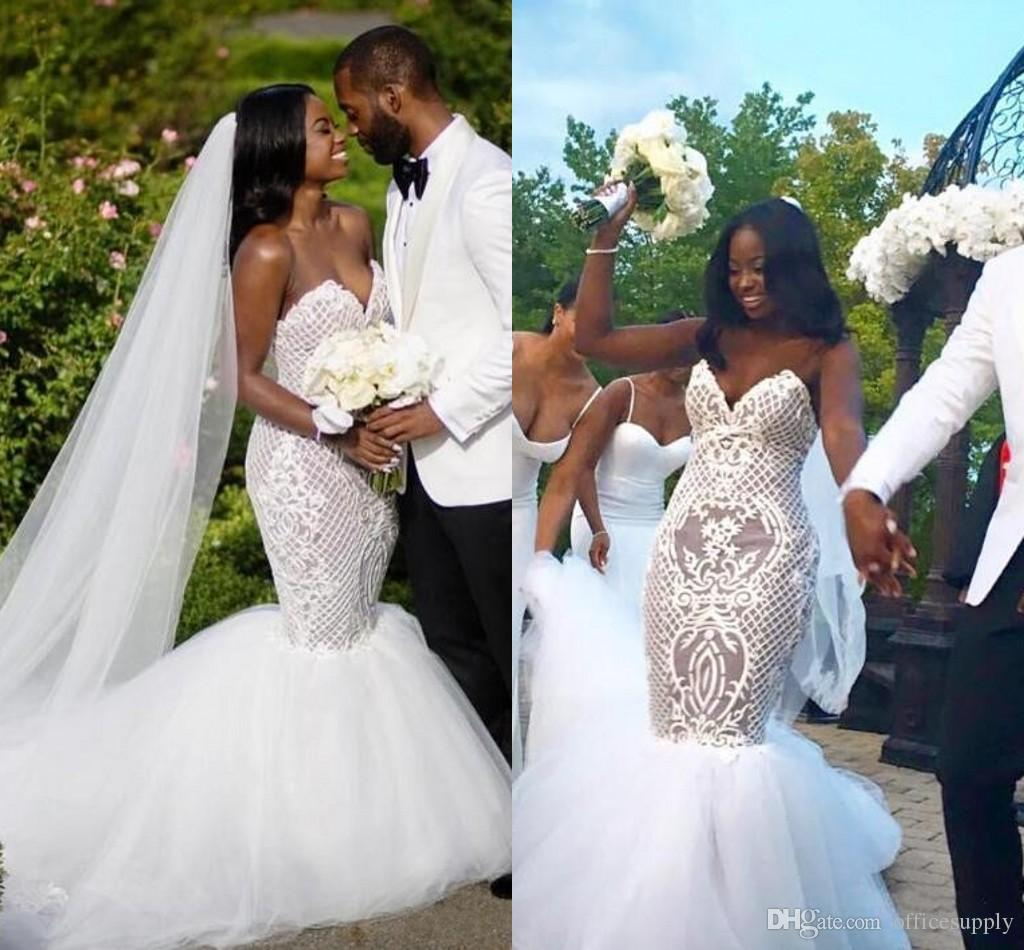 African Wedding Gown: 2018 Sexy Lace Plus Size African White Wedding Dresses