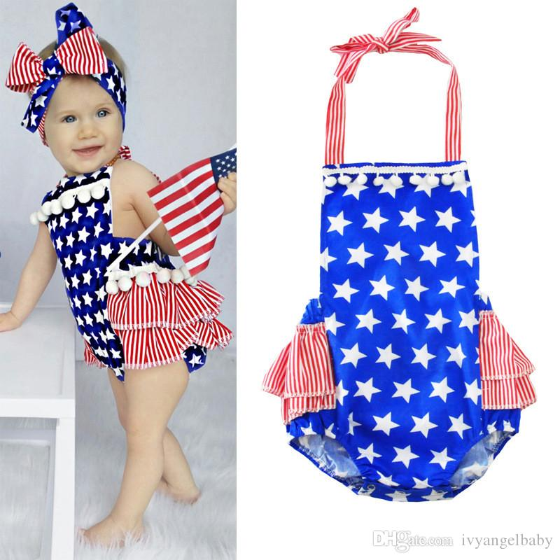 4396b80e58fb 2019 Lovely Fourth Of July Bubble Romper Clothes Newborn Baby Girl American  Flag Ruffle Skirted Kids Jumpsuit Outfit From Ivyangelbaby