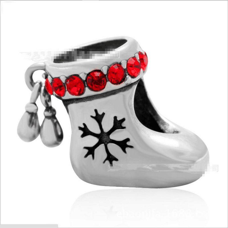 10 adet / grup Moda Hakiki 100% 925 Ayar Gümüş Rhinestone Christams Çorap Charms Fit Avrupa Bilezik Otantik Lüks DIY Takı Hediye