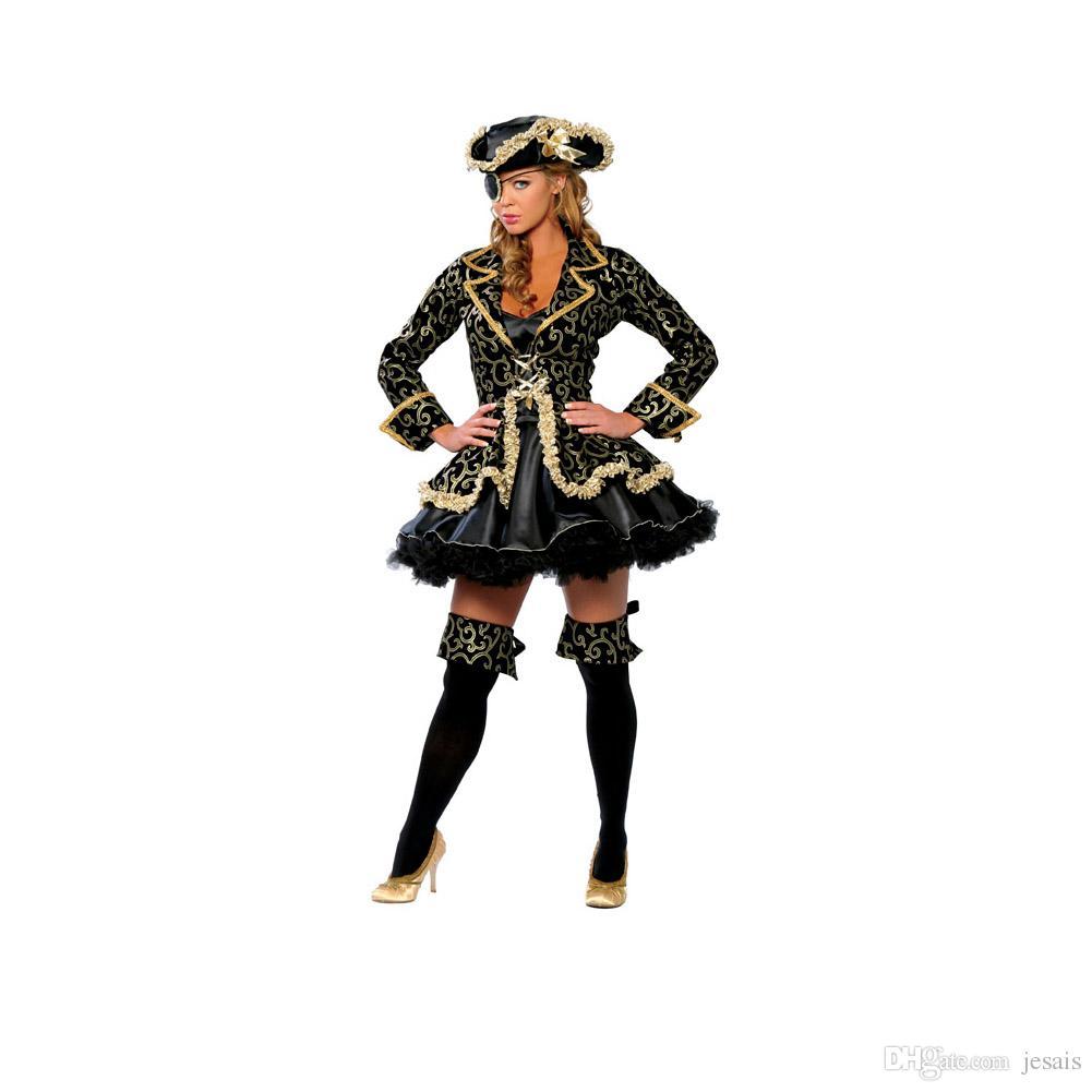 Seksi Korsan yetişkinler için wench lady Cadılar Bayramı cosplay kostüm set kadınlar için Gece Kulübü şapka parti ile parti elbise kıyafet giymek