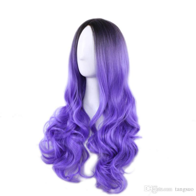 Multicolore Femmes Longue Vague Synthétique Teint Perruque Dames Noir Violet Rose Gris Dégradé Résistant À La Chaleur Cosplay Perruques Ombre Couleur Cheveux Ondulés Chapeaux