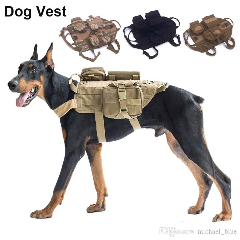 2018 tactical multi pockets dog vest outdoor dog training molle vest hunting combat harness durable adjustable dog multifunctional vest from michael blue