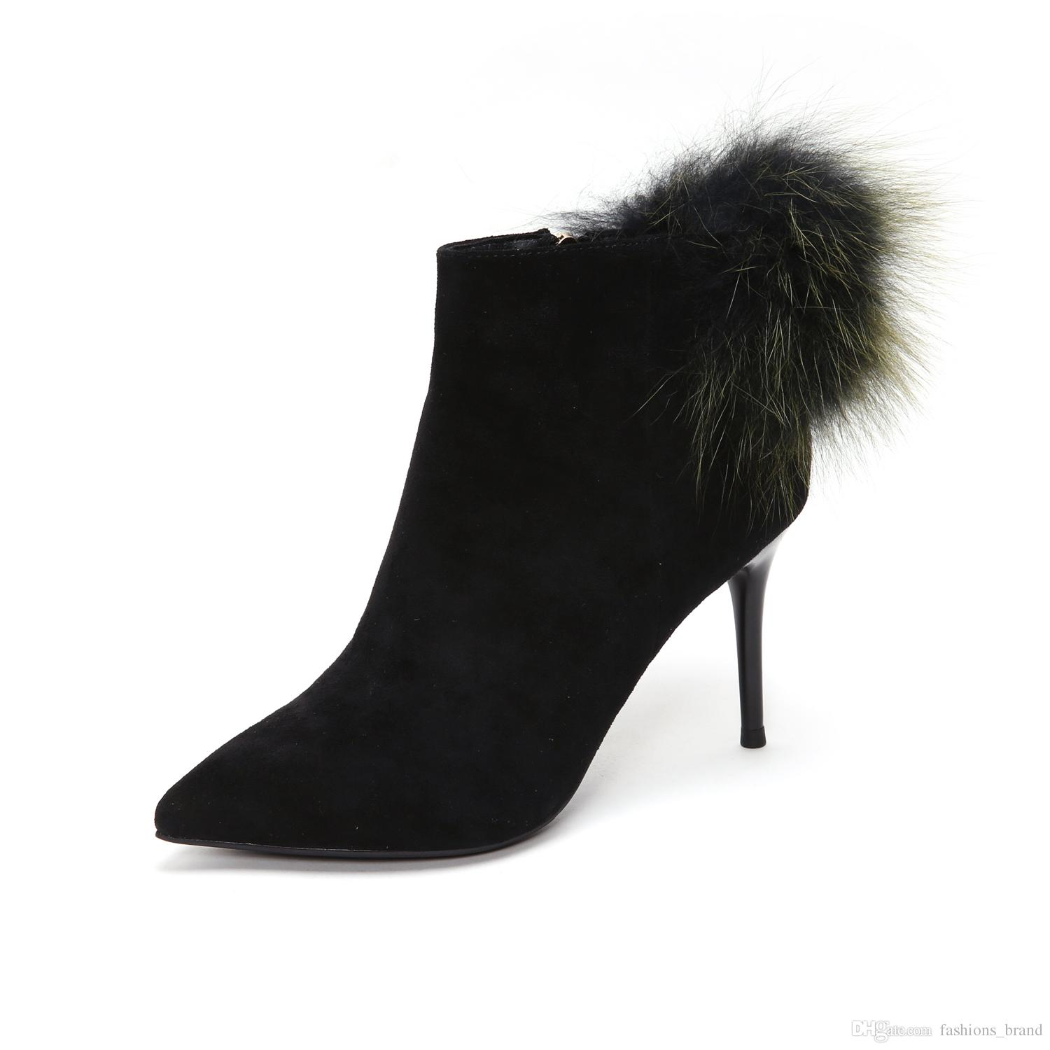 2e84c50bcf4e New Winter Pointed Toe Ankle Boots For Women Luxury Velvet Stiletto Heel  Hair Ball Side Zipper Pompoms Women Booties Suede Boots Men Boots From ...