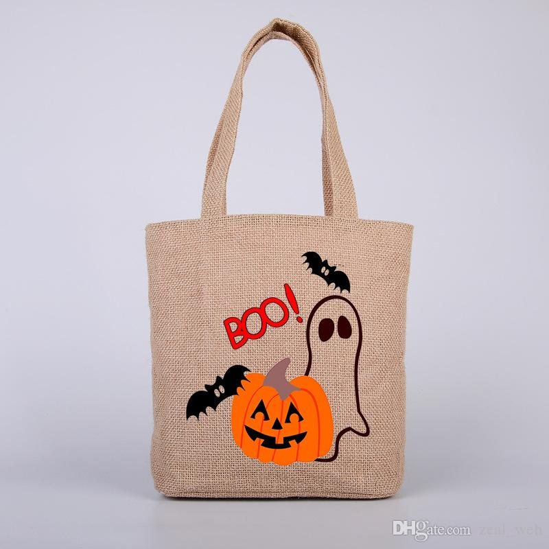 Halloween Bags Trick or Treat Candy Bags Halloween Gifts Sack Bags Cartoon Canvas Tote Reuseable Print Shoulder Bag free shipping (7)