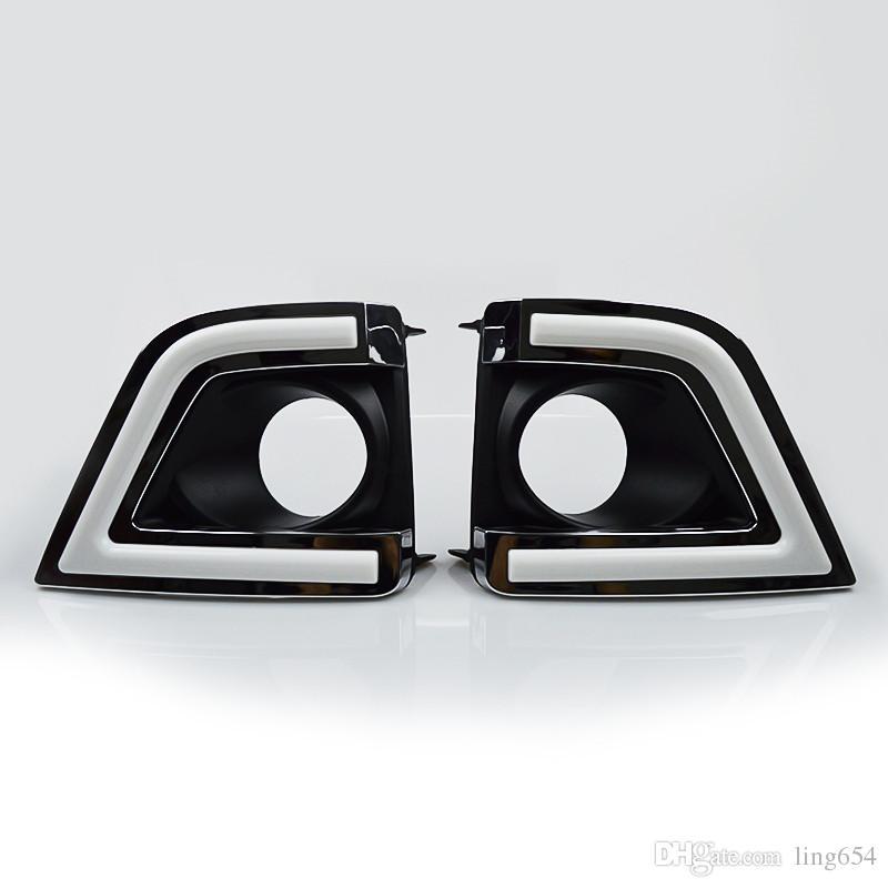 12V Car DRL Kit for TOYOTA COROLLA 2014 2015 daytime running light bar daylight fog lamps bulbs for car led corolla drl light