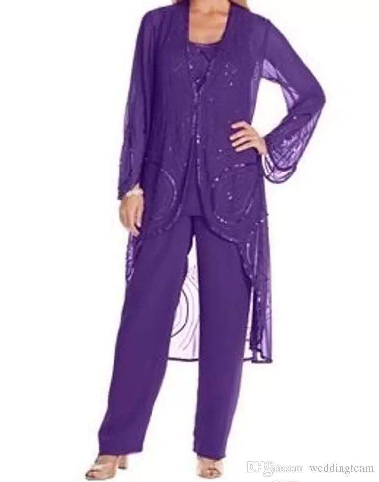 Chic Üç Adet Boncuk Anne Gelin Pant Suits Uzun kollu Ceket Düğün Konuk Elbise Şifon Payetli Artı Boyutu Abiye