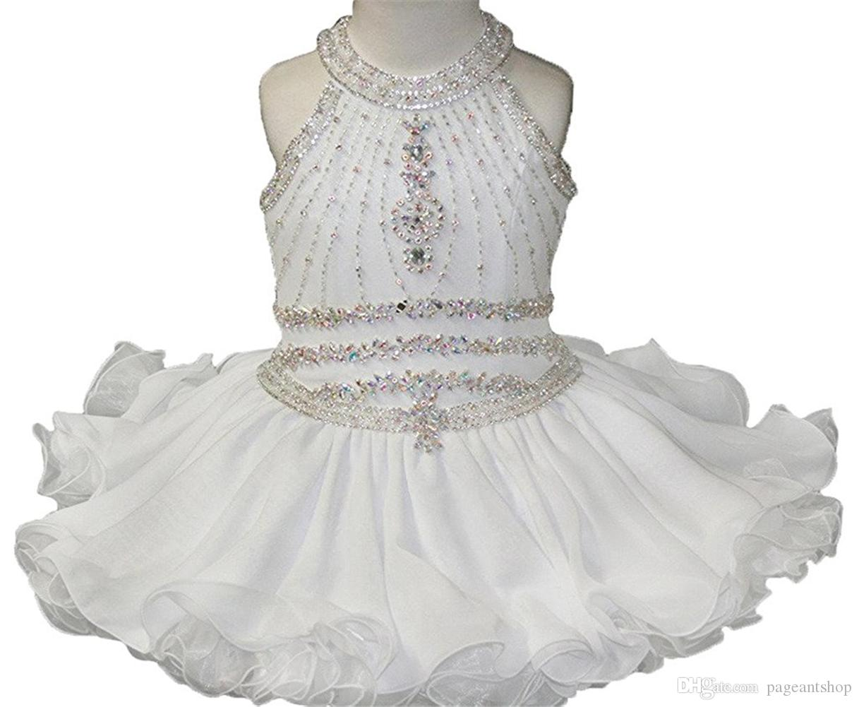 5bd2e9a0e Baby Girls Halter White Pageant Cupcake Dresses Toddler Glitz Mini Short  Birthday Party Gowns Infant Formal Wear Dresses Kids Gowns Latest Gowns  From ...