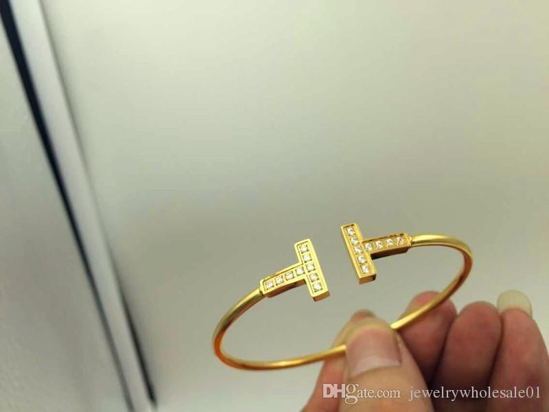 Bracciale in oro con doppia apertura coreana a forma di diamante Bracciale con gemme donna in oro