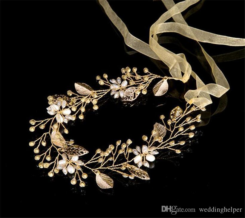 Vintage Wedding Bridal Pearl Headband Ribbon Crystal Rhinestone Hair Band Headpiece Gold Hair Accessories Leaf Crown Tiara Princess Queen Je