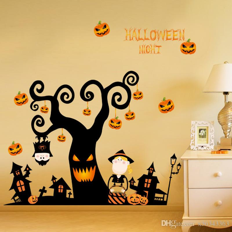 Halloween Wall Stickers Bedroom Living Room Pumpkin Lamp Photo ...