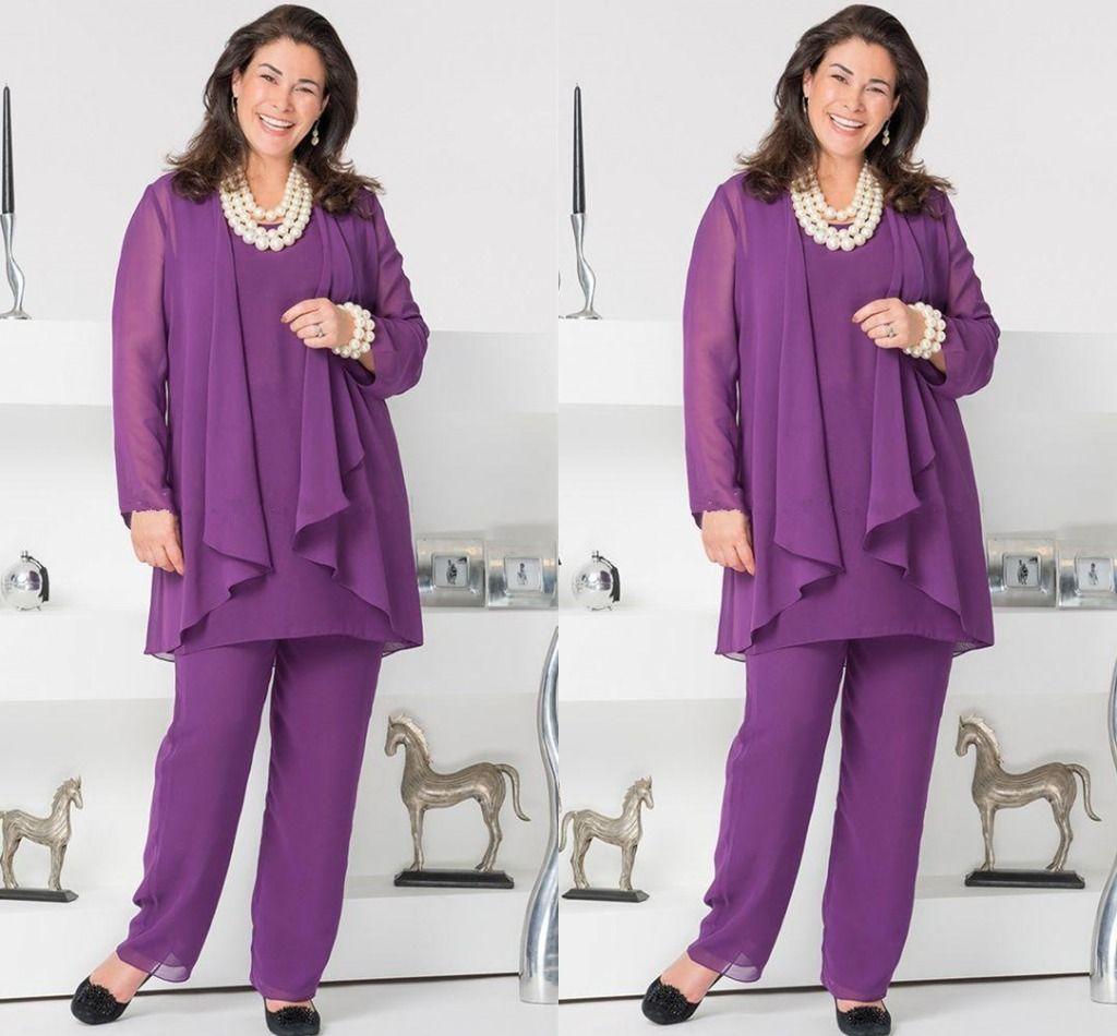 Compre Madre De Gasa Púrpura Elegante De La Novia Pantalones De ...