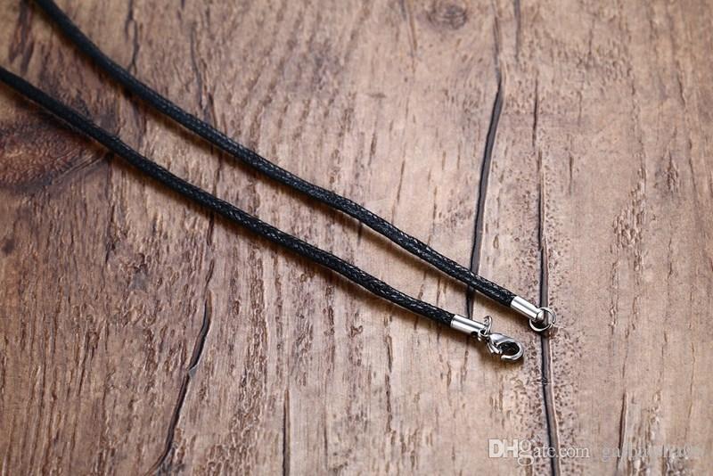 Mens Womens Gerdanlık Kolye Hollow Paslanmaz Çelik Örgülü Siyah Kordon Halat Zincir Kolye Vintage Moda Takı NC-217