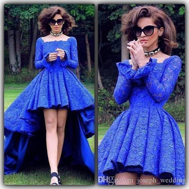 С длинным рукавом асимметричный кружева синие вечерние платья квадратный воротник новое прибытие развертки поезд vestido де феста выпускного вечера платья