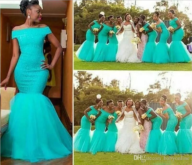 아쿠아 청록색 청록색 인어 신부 들러리 드레스 어깨 롱 셔 벗 Tulle 아프리카 스타일 나이지리아 들러리 드레스 BM0180