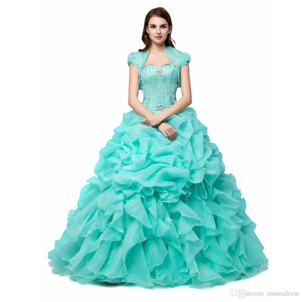 Mint Green Quinceanera Dresses Cheap Sweetheart With Jacket ...