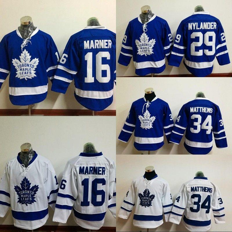 low cost e05fa 1c253 Youth Kids 91 John Tavares 34 Auston Matthews Jersey Toronto Maple Leafs 16  Mitchell Marner 29 William Nylander Hockey Jerseys
