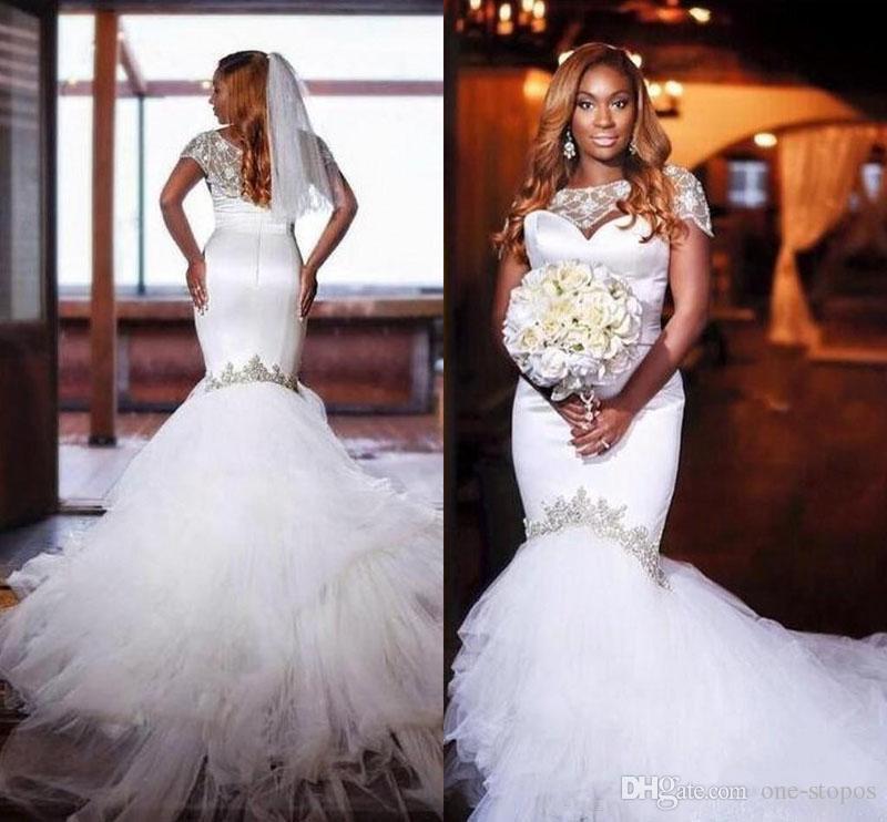 2018 African Mermaid Wedding Dresses Beaded Bateau Short Cap Sleeves