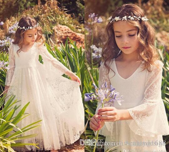 HOT 2017 New Fancy V Neck 3/4 Sleeves A-line Lace Flower Girl Dresses Cheap Country Style Little Girls Gowns