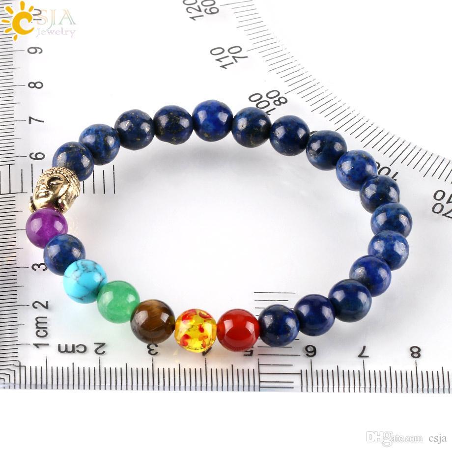 CSJA 8mm White Turquoise Snowflake Lapis Lazuli Mala Meditation Stones Beaded Buddha OM Bracelets 7 Chakra Prayer Jewelry for Men Women E448