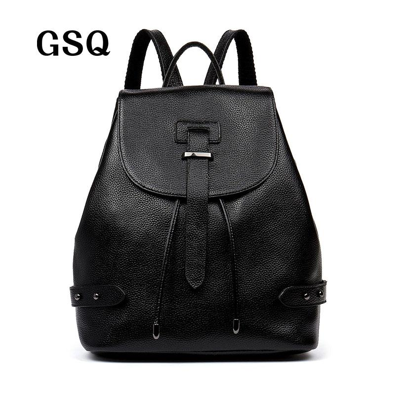 1273dcdce366 Wholesale GSQ Genuine Leather Women Backpack 2016 Hot Sale Fashion Bag  Famous Brand Korean Style School Bags Casual Daypacks Travel Bag Backpacks  For Men ...