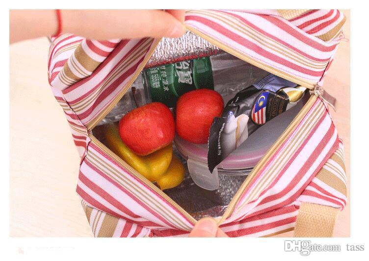 Thermal Insulated Portable Cool Canvas Stripe Lunch Totes Bag Carry Case picnic lunch bag zipper bag lunch box