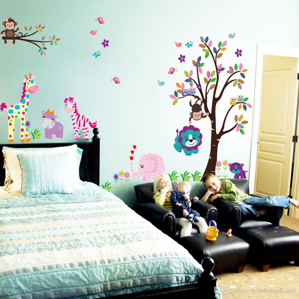 Cartoon Animals Wall Sticker With Giraffe Monkey Lion Owl Pattern For Kids' Room Background Art Decals Mural