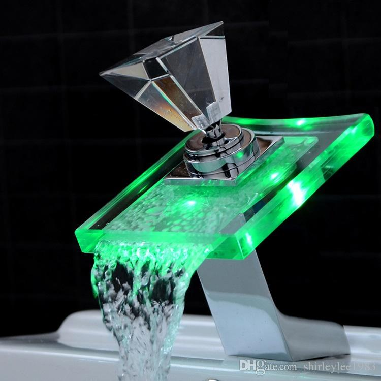 2018 Chrome Polished Led Waterfall Spout Bathroom Basin Water Tap ...