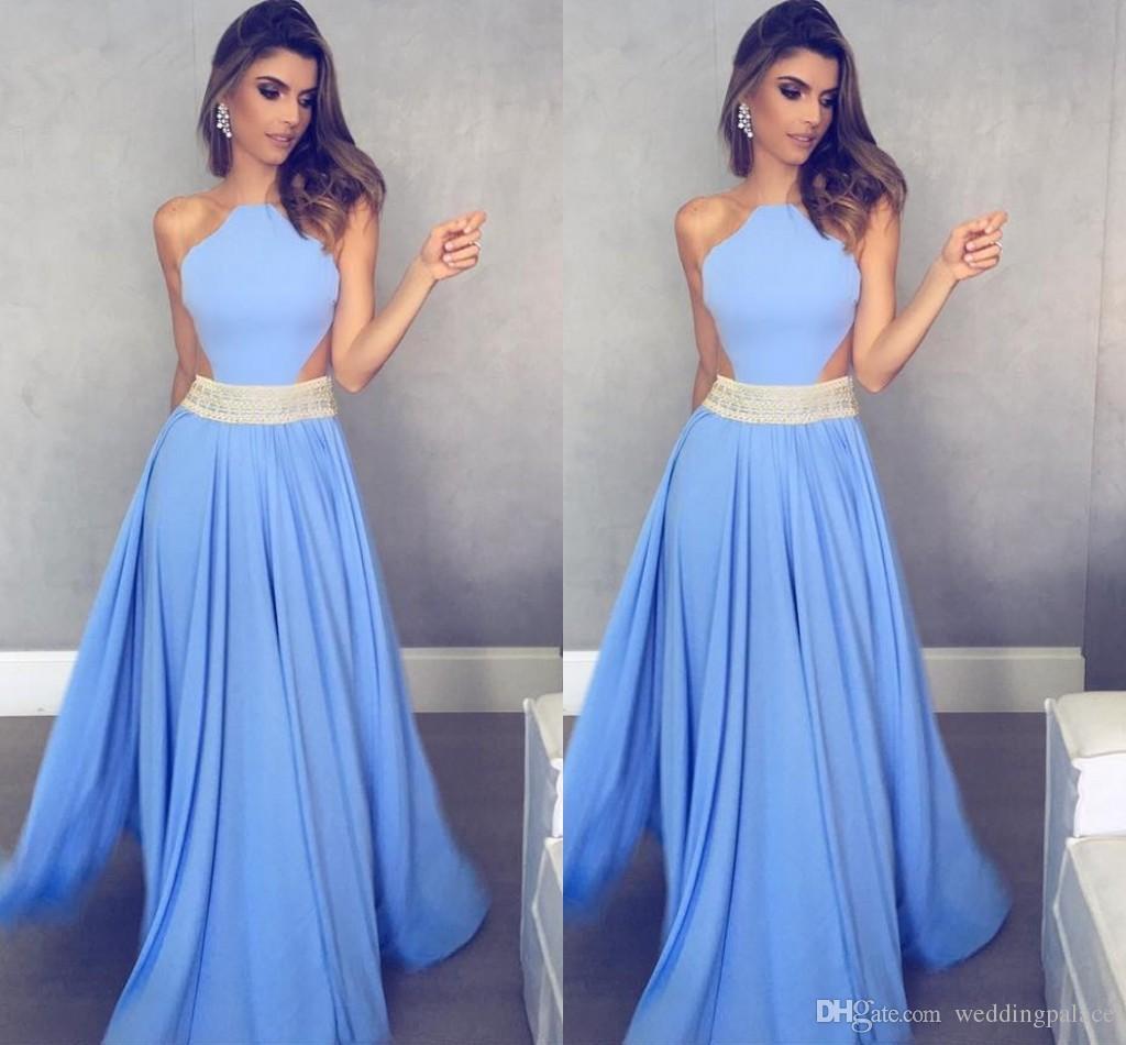 c81668a12 Compre Caliente Elegante Gasa Azul Vestidos De Noche Largos Con Cuentas  Palabra De Longitud A Line Vestidos De Noche Formales Vestido De Noche A   87.8 Del ...