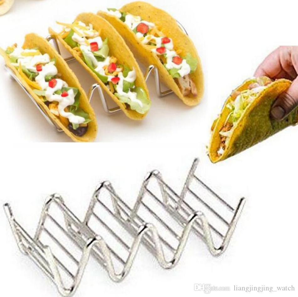 Stainless Steel Taco Holders Wave Shape Mexican Food Rack 3-4 Hard Shells Pancake Rack Stand Holds OOA3003