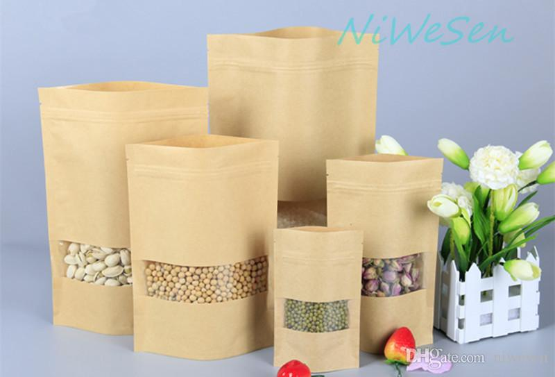 22*30+5cm,100 x Stand up Brown Kraft paper ZipLock bag with clarity window-standing craft paper coffee bean & peanut storage pouch