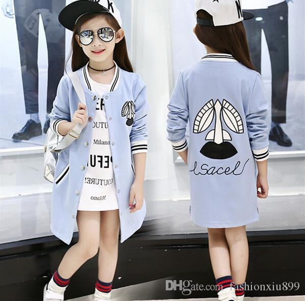 Autumn Winter Style Girls Kids Casual Baseball Sport Jacket Feminine  Children S Korean Fashion Button Long Coat Jackets Jacket For Boys On Sale  Padded ... 639af6d5b