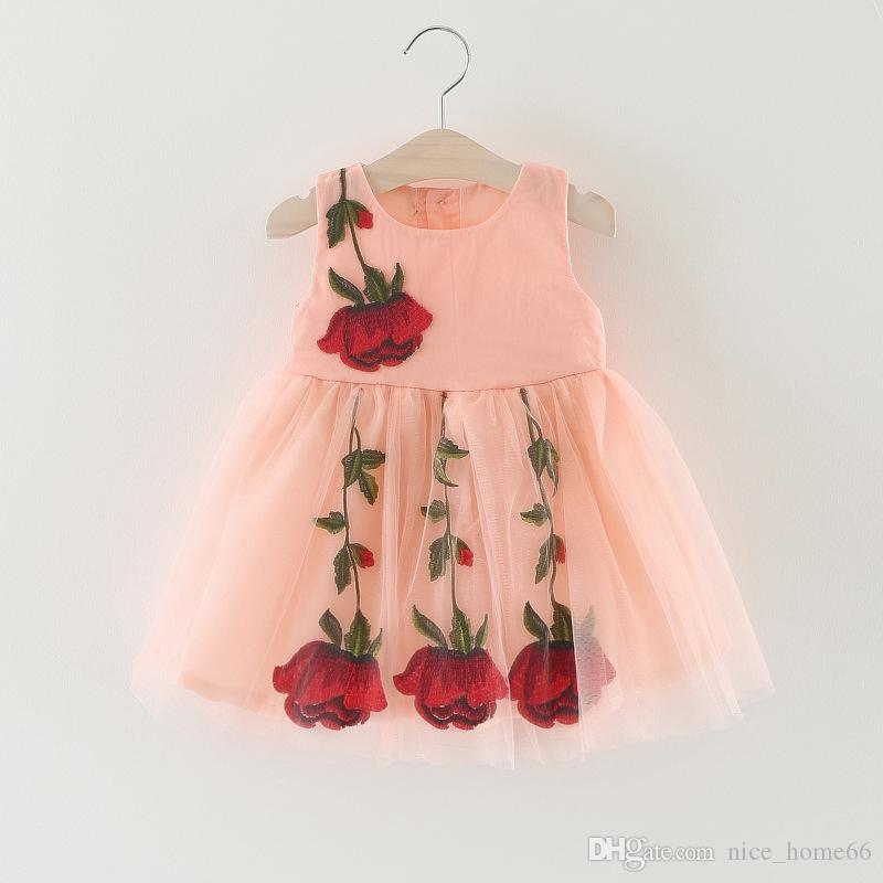 Cute Lace Girl Dress Baby Girl Summer TUTU Dress Baby Abbigliamento bambini senza maniche Bambina Rose Flower Princess Skirt