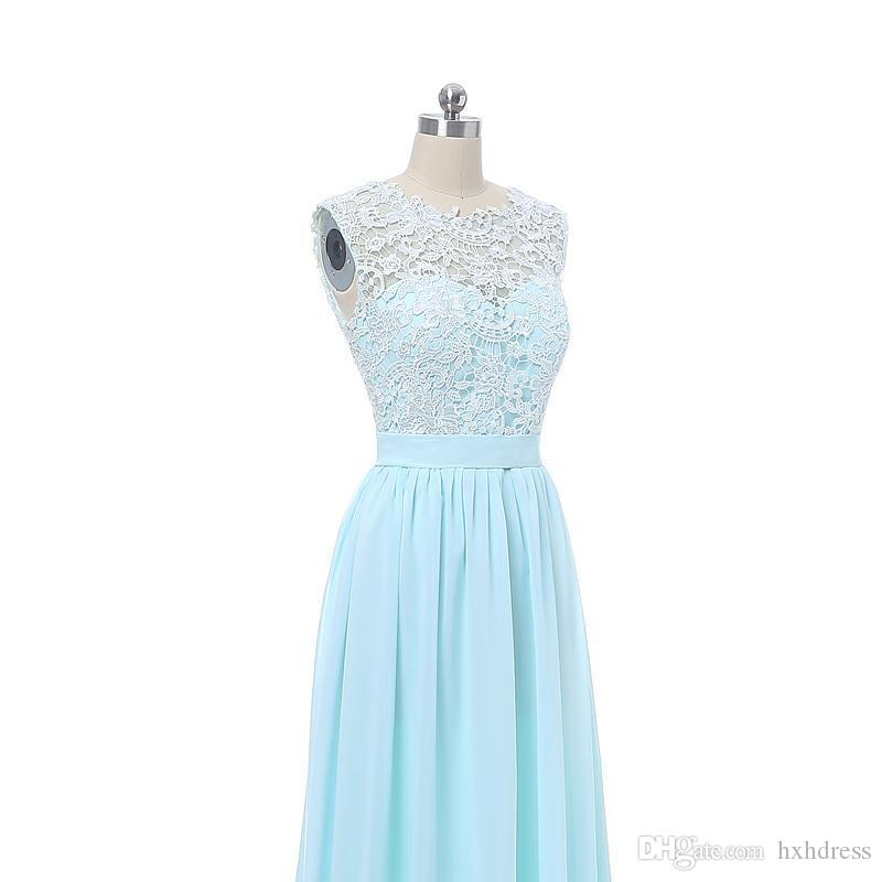 New Lace Chiffon Country Style Beach Bridesmaid Dresses Formal Gowns The real picture Cheap Coral Mint Green Long Junior Bridesmaid Dress