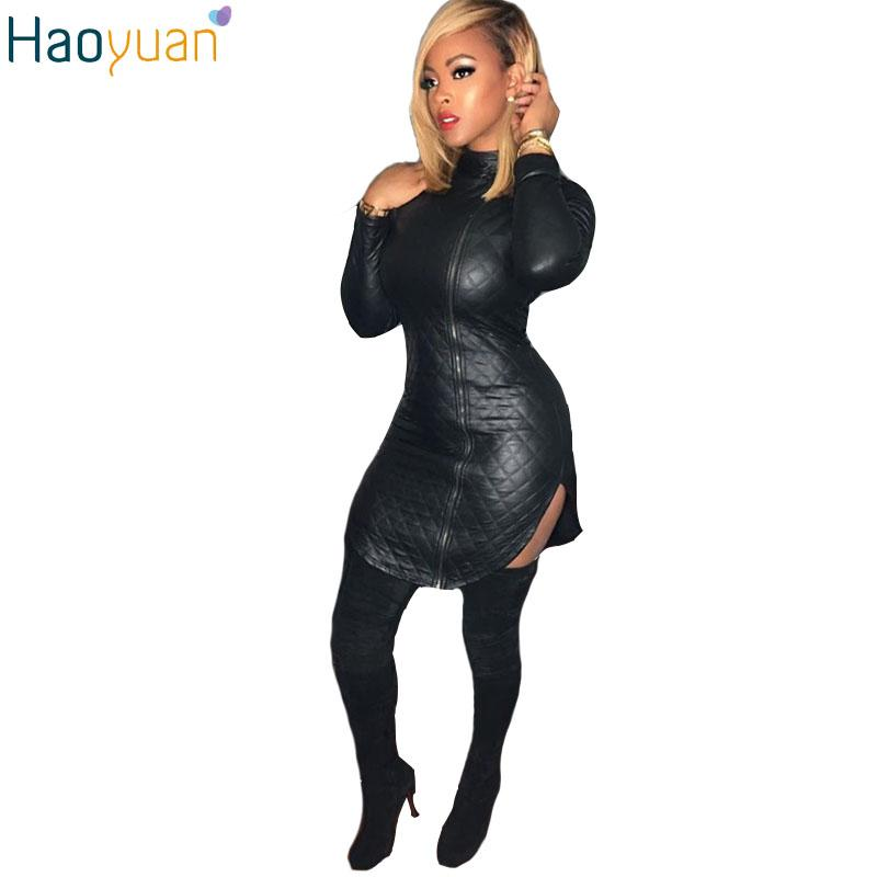 8a79f0678 Compre 2017 Mulheres Preto Vestido Sexy Club Desgaste Zipper Bodycon Manga  Comprida Turtleneck Vestidos De Couro Autumn Mini Night Club Dress 17301 De  ...